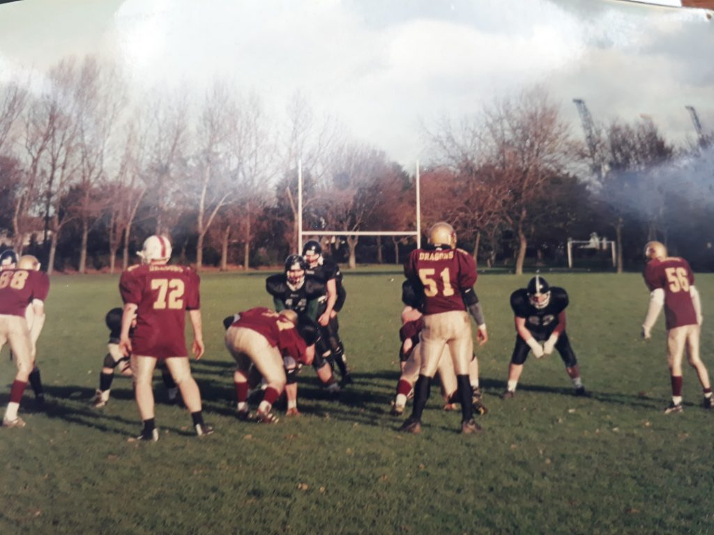 13f04e74 A rare photo from the year that competitive football returned to Ireland in  2001. Dublin Rebels (black) play Dublin Dragons (burgundy) in Ringsend Park  in ...
